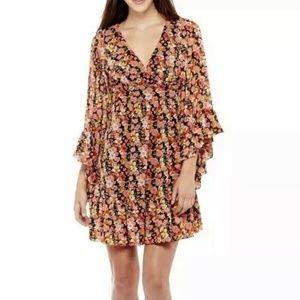 Stella Parker Women's size 14 Black Floral Ruffle
